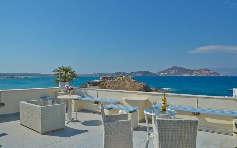Udsigten fra terrassen på Hotel Kymata, Naxos